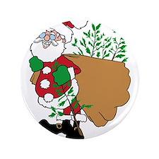 "Santa Claus planting trees.png 3.5"" Button (100 pa"
