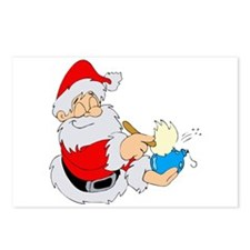 Santa polishing ornament.png Postcards (Package of