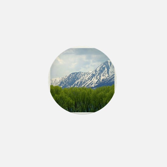 Spring snow capped mountains Mini Button