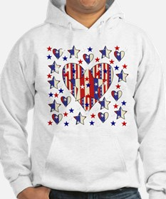 Red White Blue Hearts Stars Hoodie