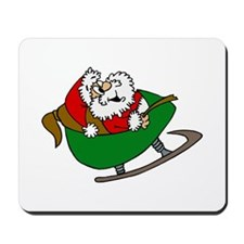 Happy Santa in Sleigh Mousepad