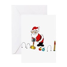 santa croquet with ornaments Greeting Cards