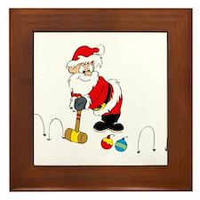 santa croquet with ornaments Framed Tile