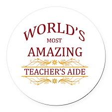 Teacher's Aide Round Car Magnet