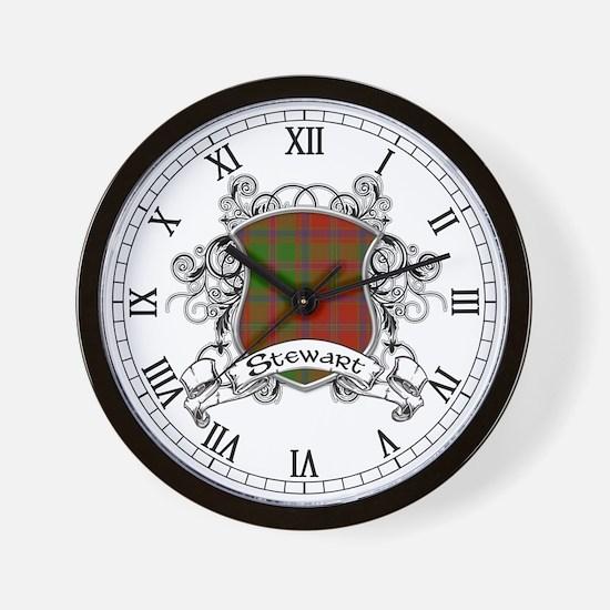 Stewart Tartan Shield Wall Clock