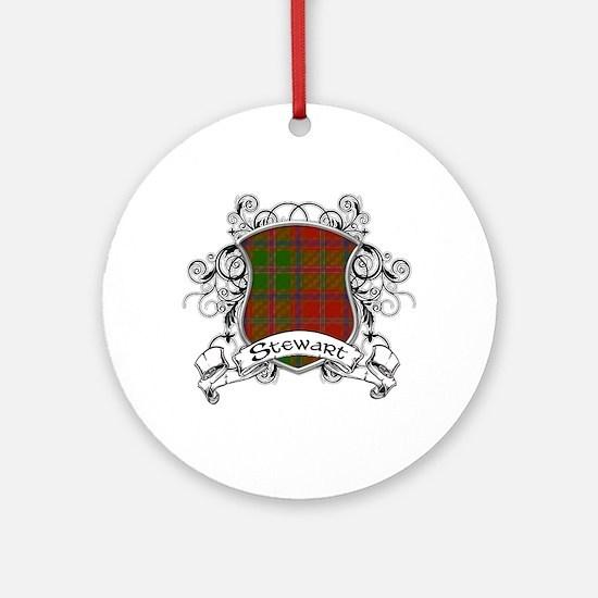 Stewart Tartan Shield Ornament (Round)