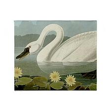 Audubon Swan Bird Throw Blanket