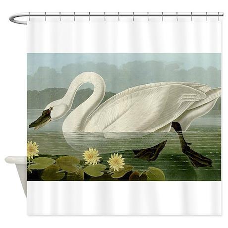 Audubon Swan Bird Shower Curtain By Birdsanimalsflowersgalore