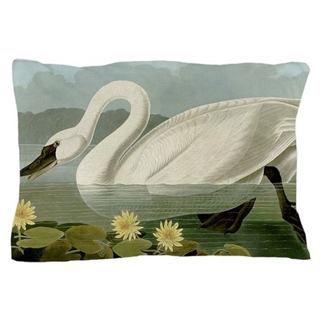 Audubon Swan Bird Pillow Case By Birdsanimalsflowersgalore