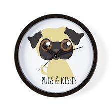 Pugs & Kisses Wall Clock