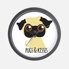 Pugs & Kisses Wall Clock