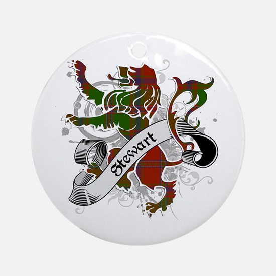 Stewart Tartan Lion Ornament (Round)
