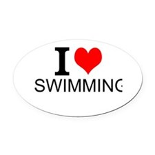 I Love Swimming Oval Car Magnet