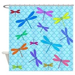 Dragonflies Cute Blue Shower Curtain