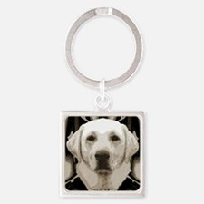 A rustic yellow lab Square Keychain