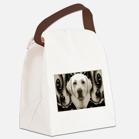 A rustic yellow lab Canvas Lunch Bag