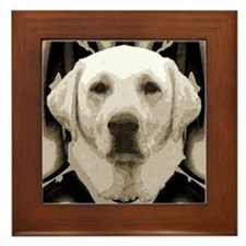 A rustic yellow lab Framed Tile