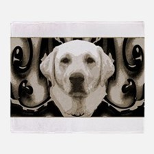 A rustic yellow lab Throw Blanket