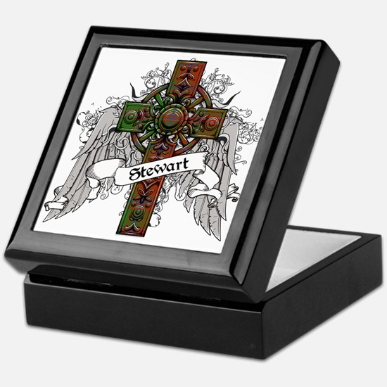 Stewart Tartan Cross Keepsake Box