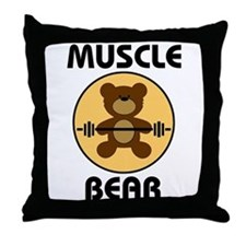 Teddy Bear Muscle Bear B Throw Pillow