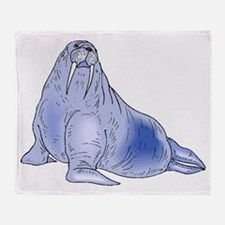 Blue Walrus Throw Blanket