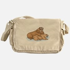 Walrus And Pup Messenger Bag