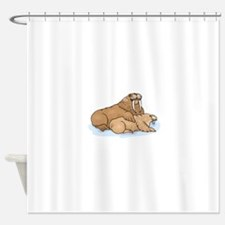 Walrus And Pup Shower Curtain