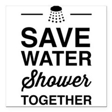 """Save Water Shower Together Square Car Magnet 3"""" x"""