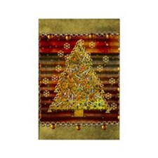 Metal Art Holiday Tree Rectangle Magnet