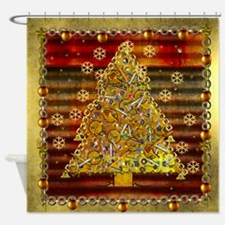 Metal Art Holiday Tree Shower Curtain