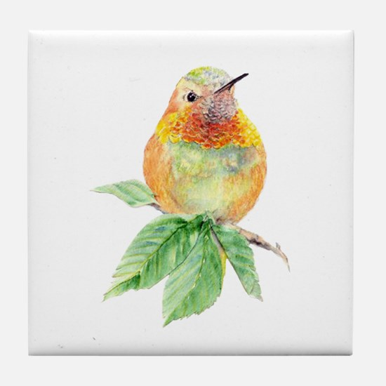 Rufous Hummingbird Watercolor Bird Tile Coaster