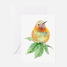 Rufous Hummingbird Watercolor Bird Nature Art Gree