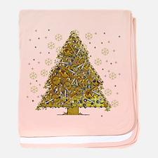 Metal Art Holiday Tree 2 baby blanket
