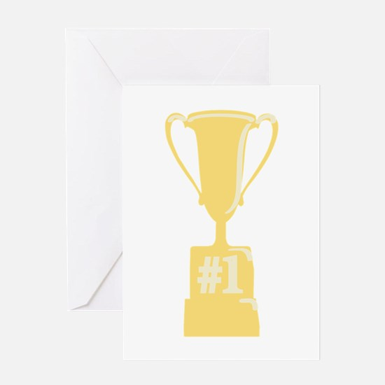 #1 Gold Trophy Greeting Cards