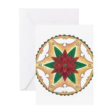 Poinsettia Peace Mandala Greeting Cards