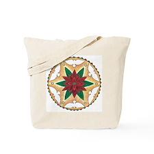 Poinsettia Peace Mandala Tote Bag