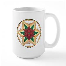 Poinsettia Peace Mandala Mugs