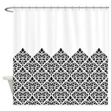 Scroll Damask Part Blk On White Ptn Shower Curtain