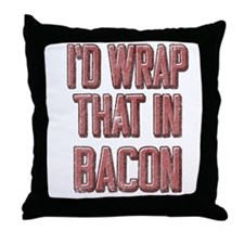 Vintage I'd wrap that in bacon Throw Pillow