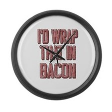 Vintage I'd wrap that in bacon Large Wall Clock