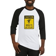 Caution Adults at Play Baseball Jersey