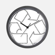 black recycle carbon footprints.png Wall Clock