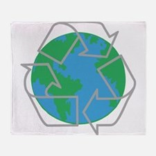 earth with recycle symbol.png Throw Blanket