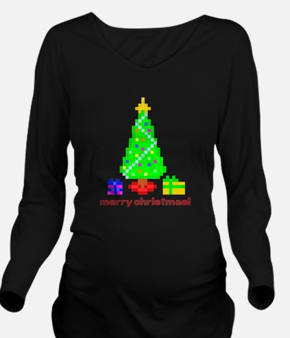 Bit Christmas Dk Long Sleeve Maternity T-Shirt