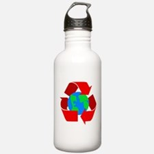 red recycle symbol around the earth.png Water Bott