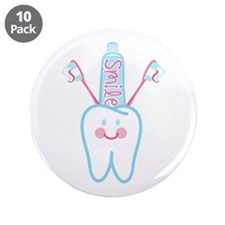 """Smile Tooth 3.5"""" Button (10 pack)"""