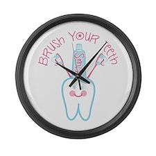 Brush Your Teeth Large Wall Clock