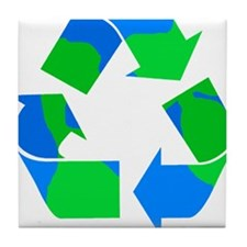 recycle symbol made of the earth.png Tile Coaster