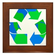 recycle symbol made of the earth.png Framed Tile
