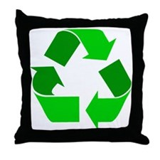 green recycle symbol.png Throw Pillow